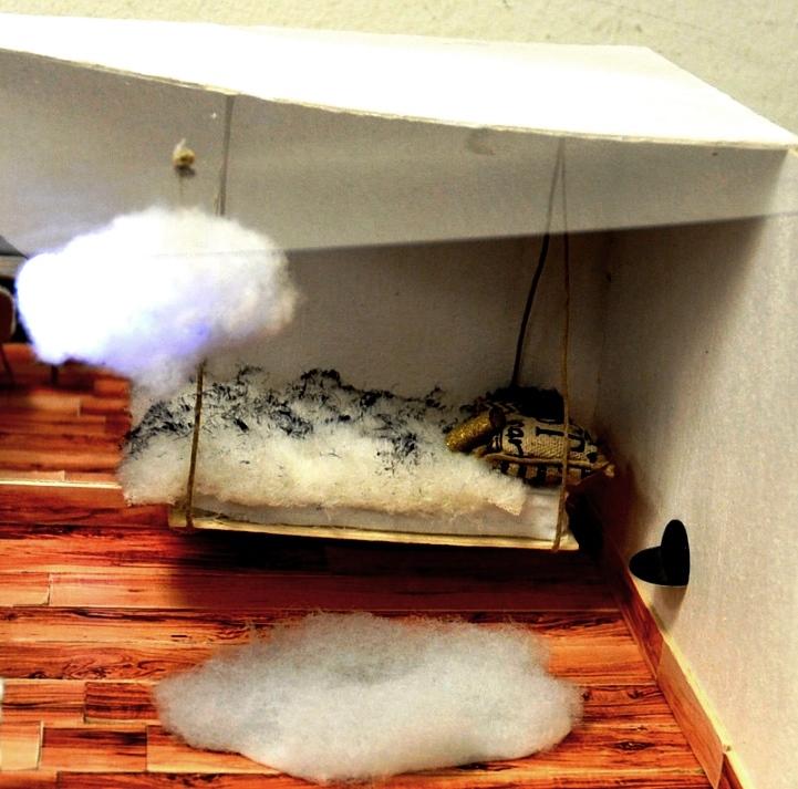 חדר חלומות נוסף שעיצב ילד: מיטת נדנדה מרחפת מעל ענן