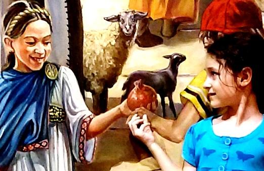 נערה מגישה רימון בציור קיר בקארדו בירושלים