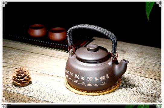 קנקן תה סיני בסגנון קונג פו. צ'יינה באי